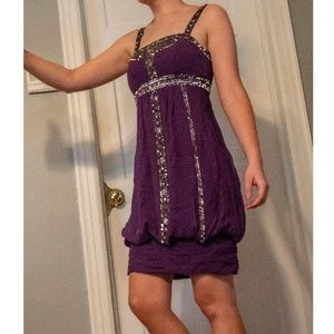 Sue Wong Cocktail Dress Purple Bouson Size 4